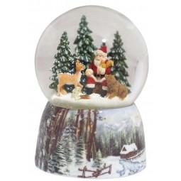 Schneekugel Santa im Wald