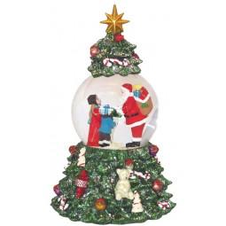 Schneekugel Santa im Baum