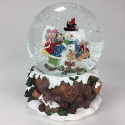 Schneekugel Bärchen und Santa