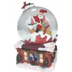 Schneekugel Santa inm Schornstein