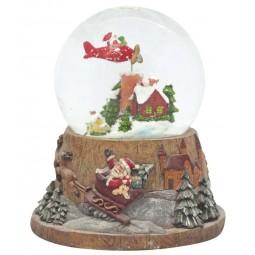Schneekugel fliegender Santa