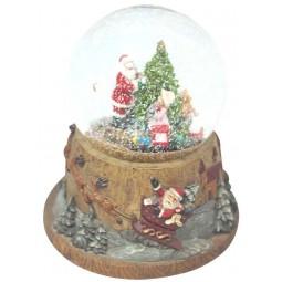 Schneekugel Santa, Baum und Zug