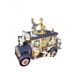 Spieluhr Milchwagen mit Katzen