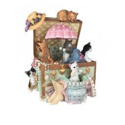 Spieluhr Katzen in Truhe