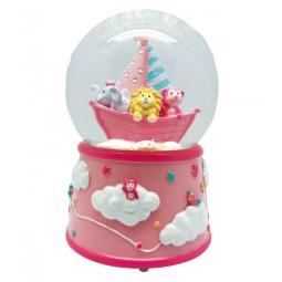 Spieluhr rosa Glitzerkugel wilde Tiere