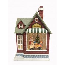 Weihnachtshaus mit Glitzerkugel