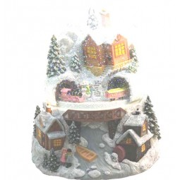 Schneekugel 12 cm mit drehendem Zug