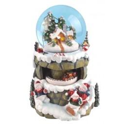 Schneekugel Schneemänner/Schlitten