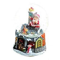 Schneekugel Santa auf dem Dach