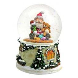 Schneekugel Santa mit Teddybär