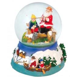 Schneekugel mit angelndem Santa