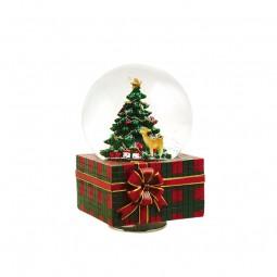 Schneekugel mit Spieluhr in Geschenkeform