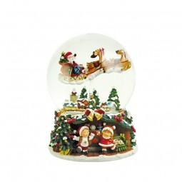 Schneekugel mit fliegendem Santa & Schlitten