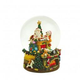 Schneekugel mit Spieluhr Santa, Kind und Hund