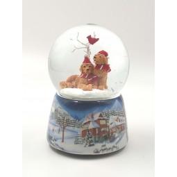 Schneekugel 2 Hunde mit Weihnachtsmütze