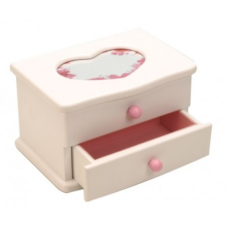 White Wooden Jewelry Box With Drawer