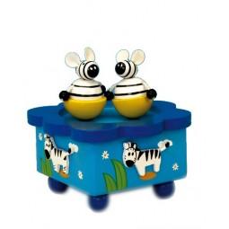 Holzspieluhr tanzende Zebras