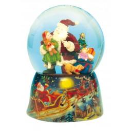 Schneekugel Santa mit Mädchen