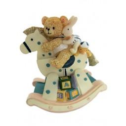 Spieluhr Bär auf Schaukelpferd