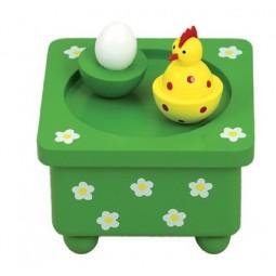 Holzspieluhr Henne und Ei