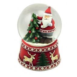 Schneekugel Santa am Baum