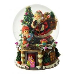 Spieluhr Schneekugel Santa mit Geschenken