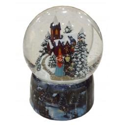 Porzellan Schneekugel mit Kirchenszene