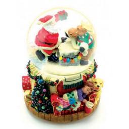 Spieluhr Schneekugel mit Santa und Elch