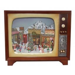 Fernsehen mit einer weihnachtlichen Dorfszene