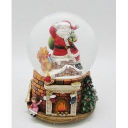 Spieluhr Schneekugel Santa im Schornstein