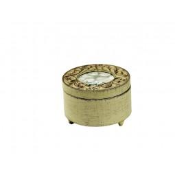 Antik weiße Holzdose rund