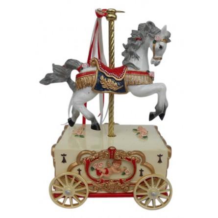 Spieluhr Karusselpferd auf einem Wagen