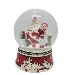 Spieluhr Schneekugel Santa auf Schlittschuhen
