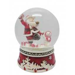 Spieluhr Schneekugel werfender Santa