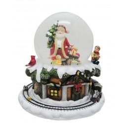 Spieluhr Schneekugel Santa mit Baum & Geschenken