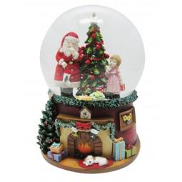 Spieluhr Schneekugel Santa mit Mädchen am Weihnachtsbaum