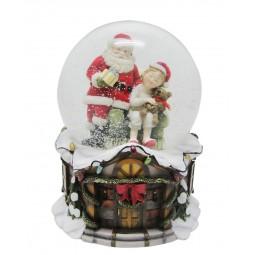 Spieluhr Schneekugel Santa & schlafendes Kind
