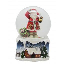 Spieluhr Schneekugel Santa mit Laterne und Geschenkesack