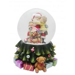 Spieluhr Schneekugel Santa mit Kind auf dem Schoß