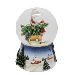 Spieluhr Schneekugel Santa mit Baum auf dem Schlitten