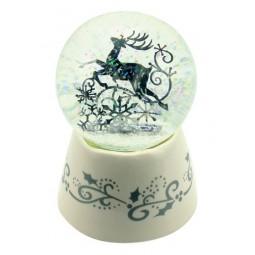 Spieluhr Weiße Schneekugel aus Porzellan