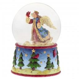 Spieluhr Schneekugel mit Engelmotiv und blauer Basis