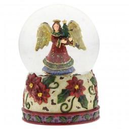 Spieluhr Schneekugel mit Engelmotiv und mit Blumen verzierter Basis