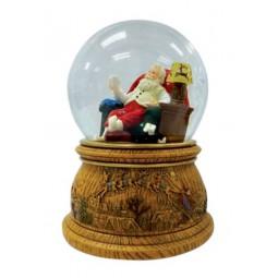 Spieluhr Schneekugel Santa im Sessel