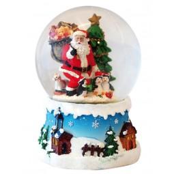 Spieluhr Schneekugel Santa mit Pinguinen
