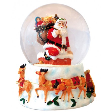 Schneekugel Santa im Schornstein