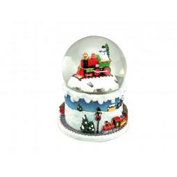 Schneekugel Zug mit Schneemann