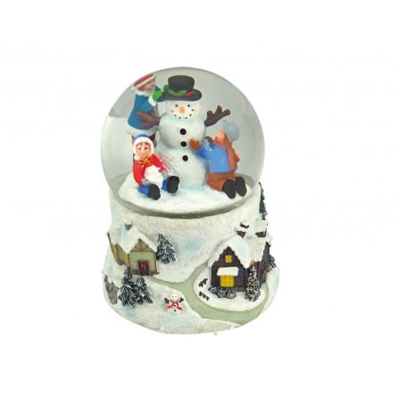 Schneekugel Schneemann mit Kindern