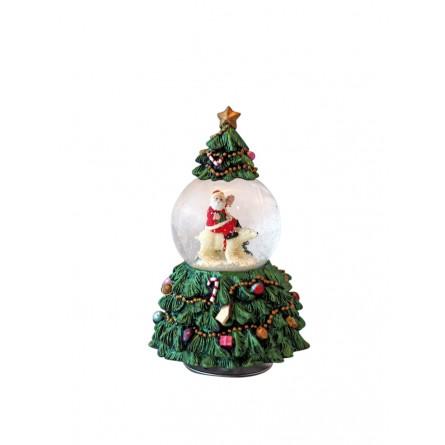 Tannenbaum mit Schneekugel Schneemann auf einem Eisbär
