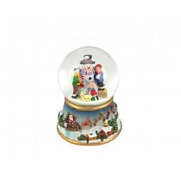 Spieluhr Schneekugel Schneemann bauende Kinder